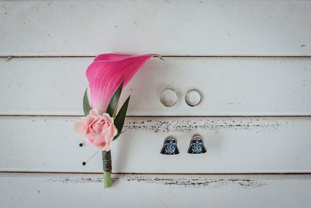 Pink wedding boutonniere and Star Wars cuffs- Dani Leigh Photography