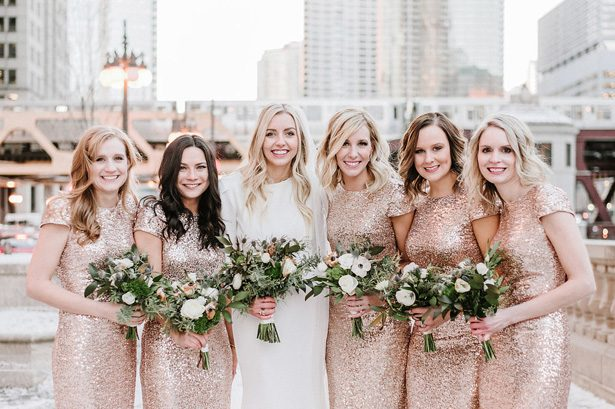 Rose gold long sequin bridesmaid dresses- Nicole Jansma Photography
