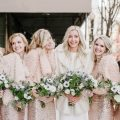 Rose gold long sequin bridesmaid dresses and bridal coats - Nicole Jansma Photography