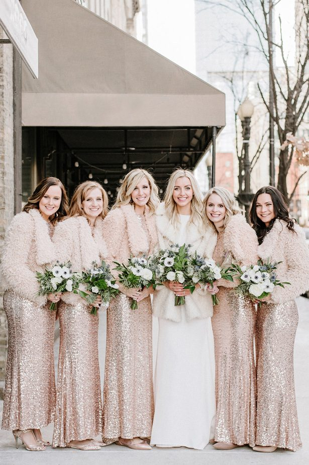 Rose gold long sequin bridesmaid dresses and bridal coats- Nicole Jansma Photography