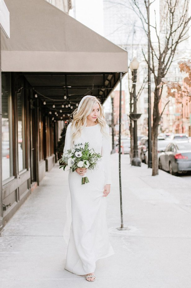 Simple winter wedding dress- Nicole Jansma Photography