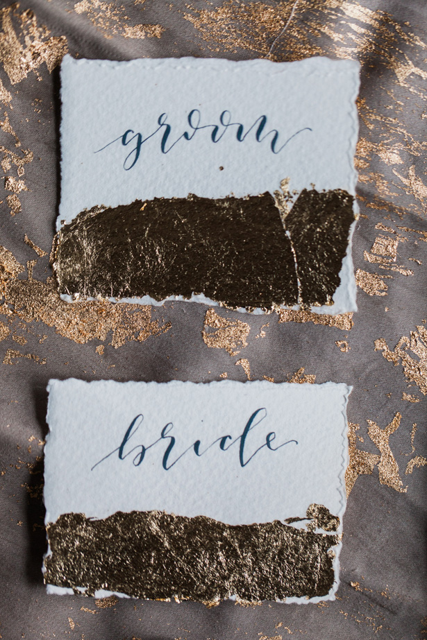 Vintage wedding escort cards with calligraphy and gold foil details - Amanda Karen Photography