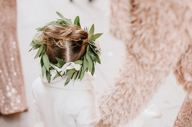 Wedding flower girl greenery crown- Nicole Jansma Photography
