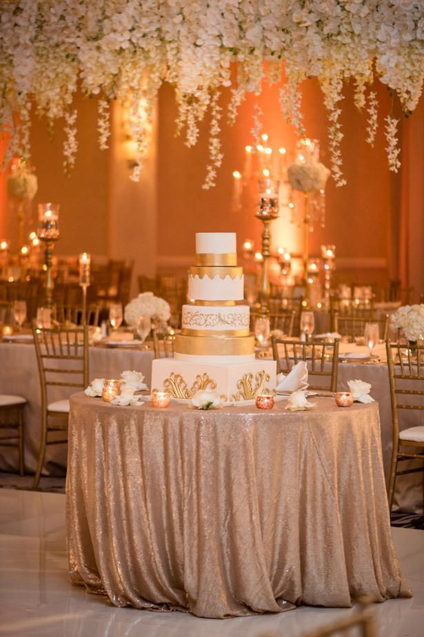 White and gold luxury wedding cake table - Photographer: Julia Franzosa