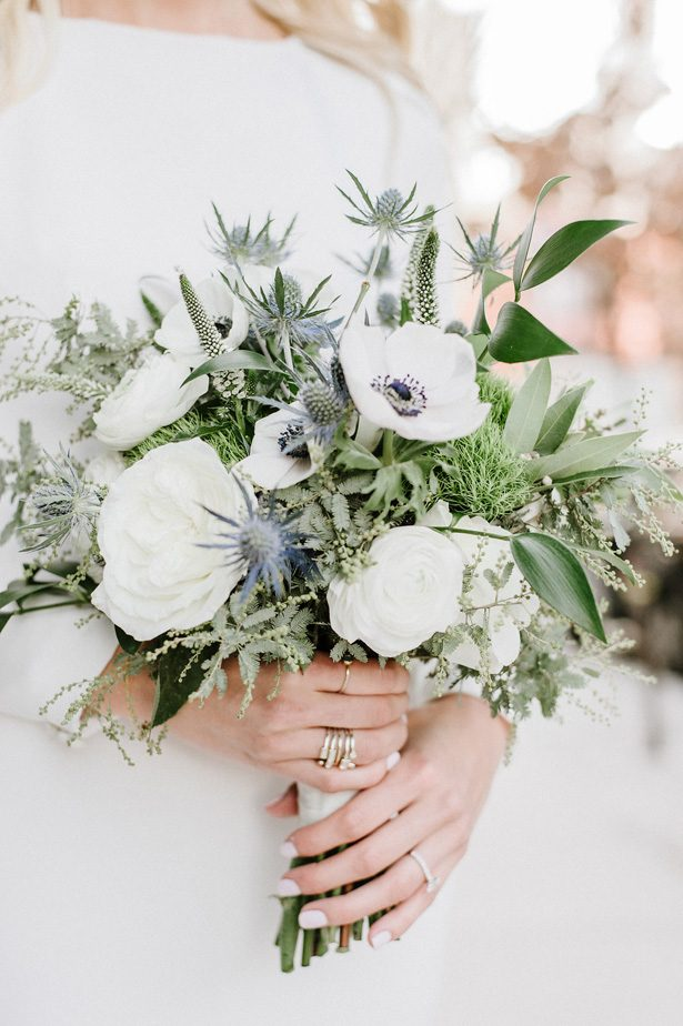 White and greenery winter wedding bouquet- Nicole Jansma Photography