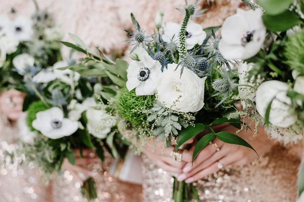 White and greenery winter wedding bouquets- Nicole Jansma Photography