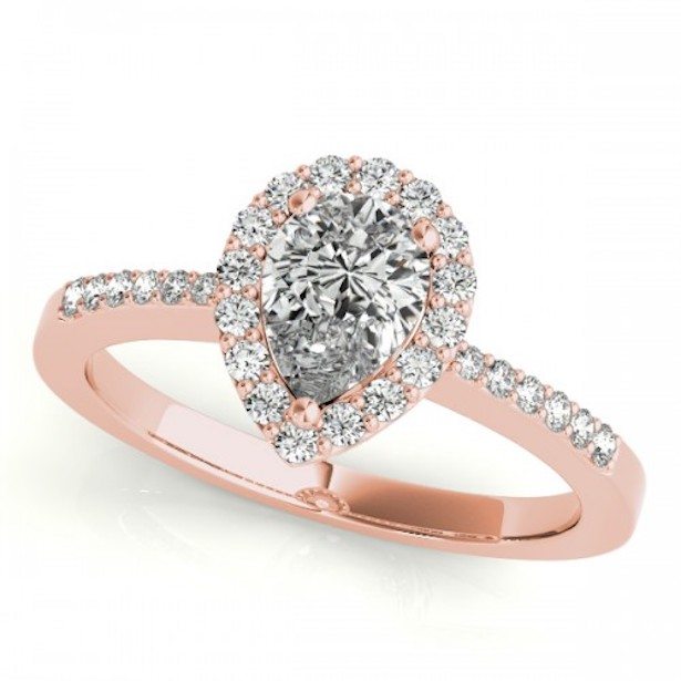 Classic Pear Shaped Halo Ring Rose Gold by Clean Origin