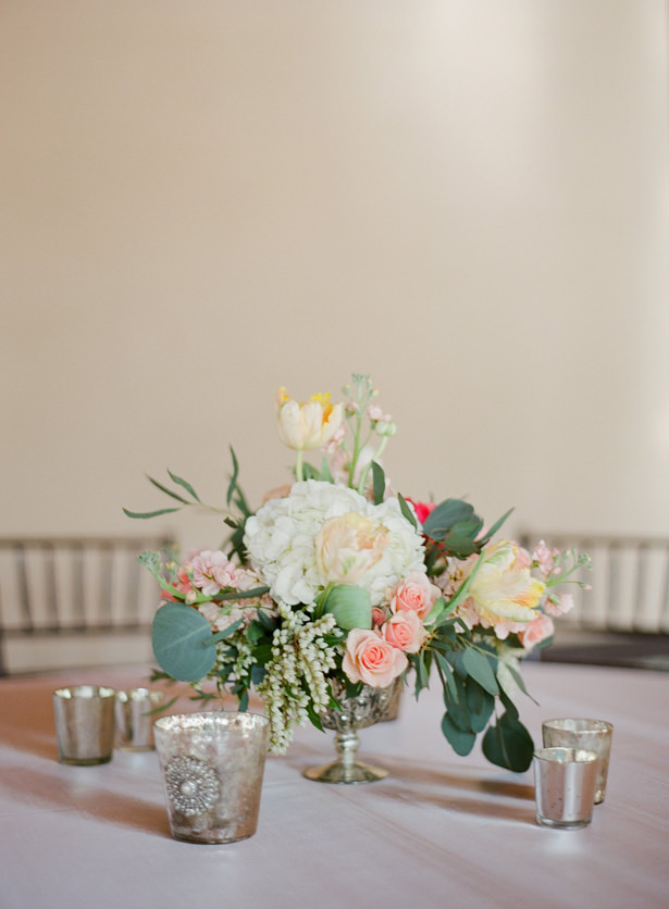 Elegant low wedding centerpiece - Almond Leaf Studios