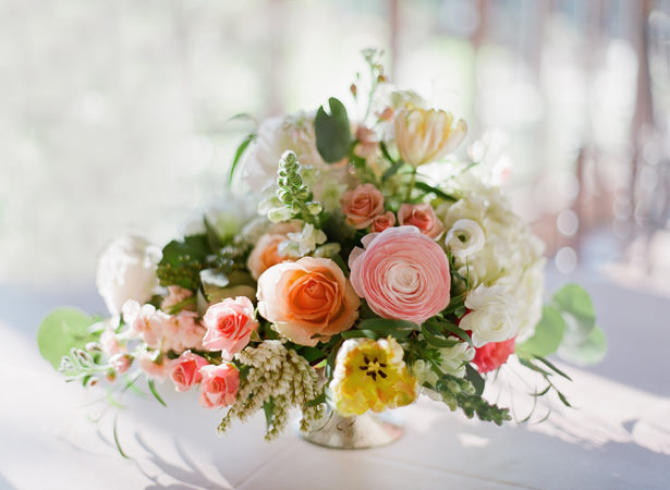 Elegant low spring wedding centerpiece - Almond Leaf Studios