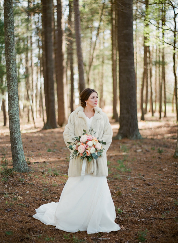 Faux Fur Wedding Jacket - Almond Leaf Studios
