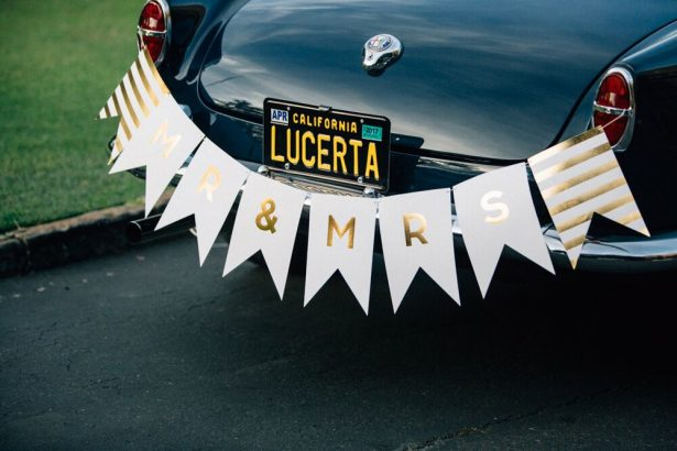 Gold Bridal Car Sign - Myrtle And Marjoram Photography