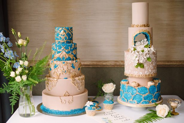 Luxe Wedding Cake with Gold and blue accents - Tell Your Story Photography