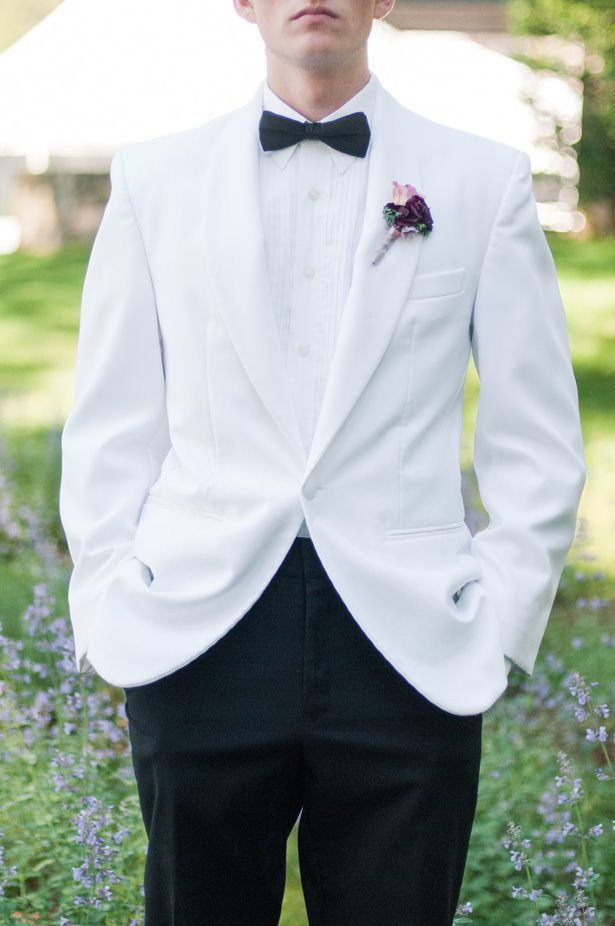 Grooms White Tuxedo Jacket - George and Claudia Photography