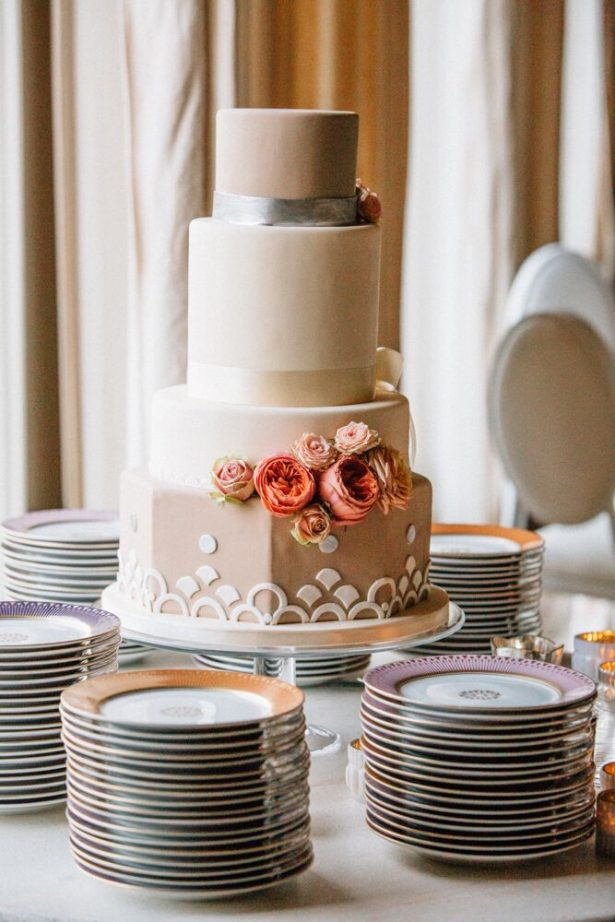 Modern Wedding Cake With White Garden Roses - Myrtle And Marjoram Photography
