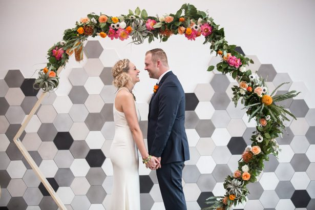 This Modern Geometric Wedding Editorial With Citrus Hues Turned Into a Surprise Proposal