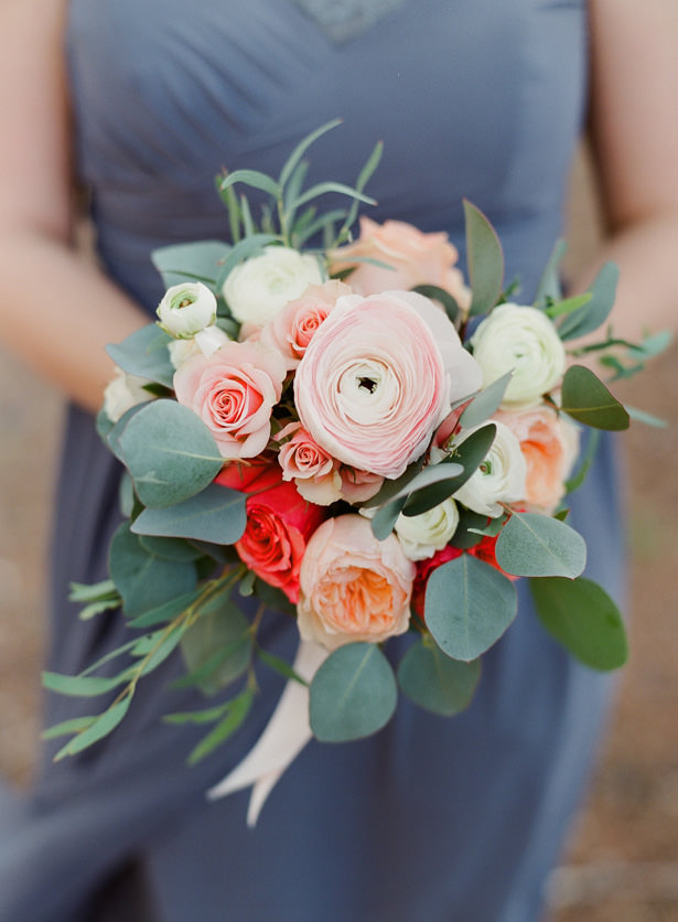 Orange and Pink Bridesmaids bouquet - Almond Leaf Studios