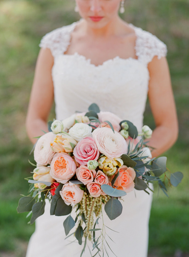 Orange and Pink wild romantic wedding bouquet - Almond Leaf Studios