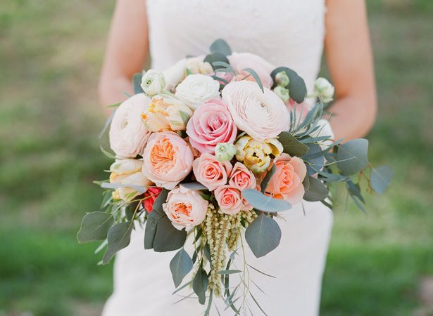 Orange and Pink wild wedding bouquet - Almond Leaf Studios