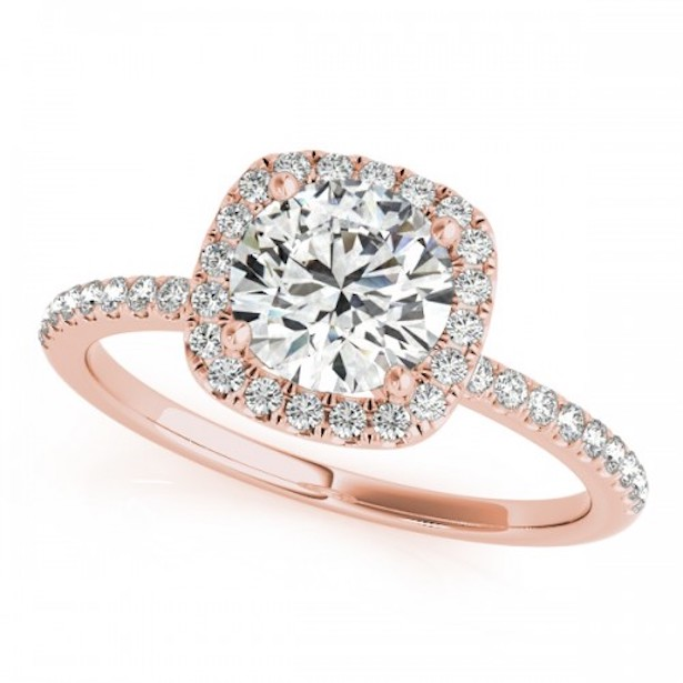 Petite Delicate Halo Ring Rose Gold by Clean Origin