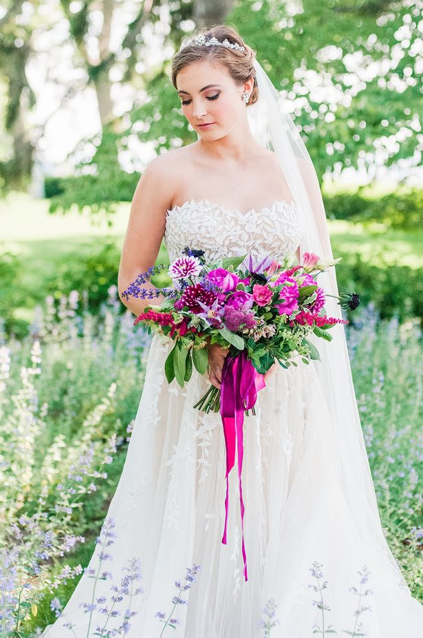 Purple and Pink Wild Wedding Bouquet - George and Claudia Photography