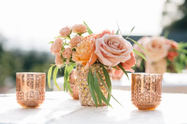 Short Blush Wedding Centerpiece with Gold Accents - Myrtle And Marjoram Photography