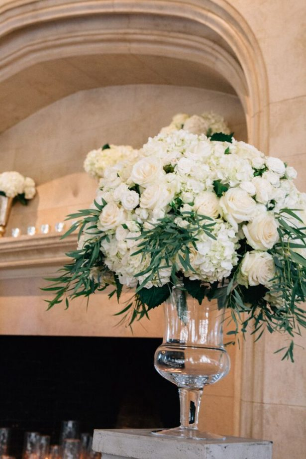 Tall Wedding Ceremony Flowers With White Hydrangeas - Myrtle And Marjoram Photography
