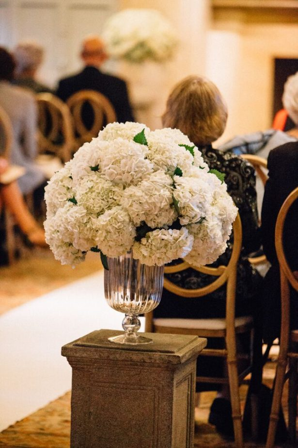 Wedding Ceremony Flowers White Hydrangeas - Myrtle And Marjoram Photography