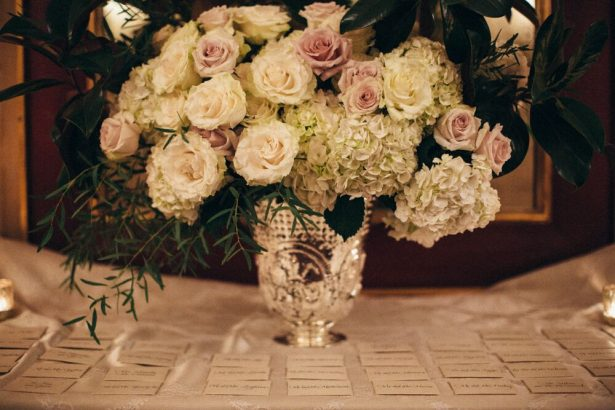 White Hydrangea and Garden Rose Wedding Flowers - Myrtle And Marjoram Photography