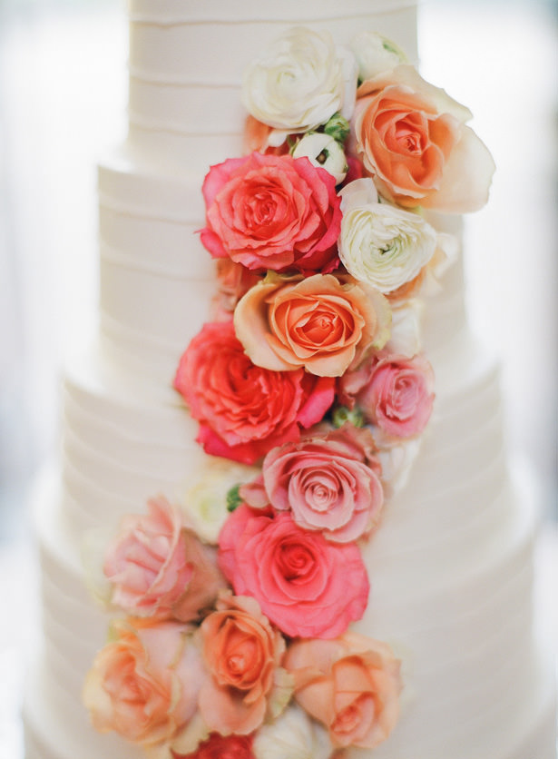 White Wedding Cake with flowers - Almond Leaf Studios