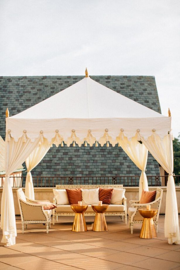 White and Gold Wedding Lounge and Canopy - Myrtle And Marjoram Photography