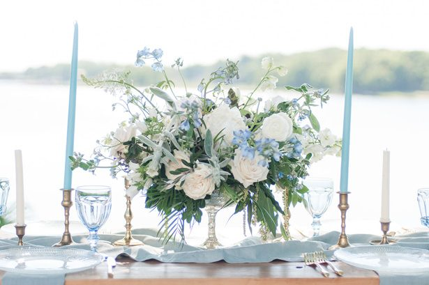 dusty blue wedding Table centerpiece - George and Claudia Photography