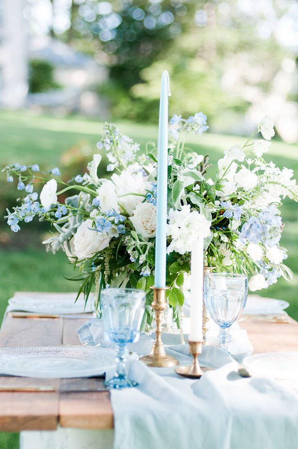 dusty blue wedding candle - George and Claudia Photography