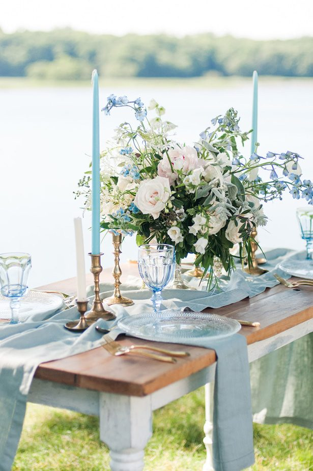dusty blue wedding tablescape - George and Claudia Photography