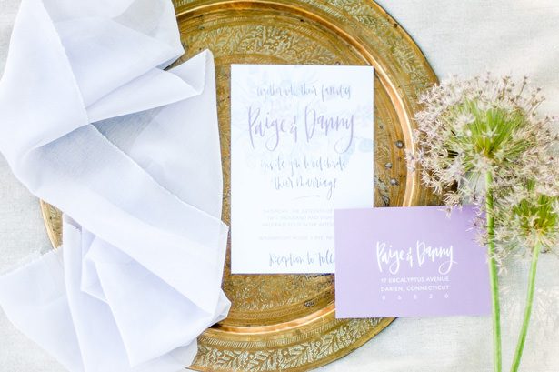 lavender wedding Invitations - George and Claudia Photography