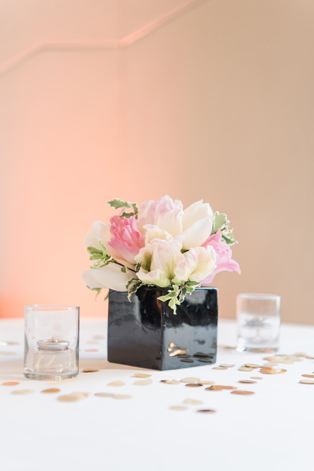 Black and blush low wedding centerpiece - 1985 Luke Photography
