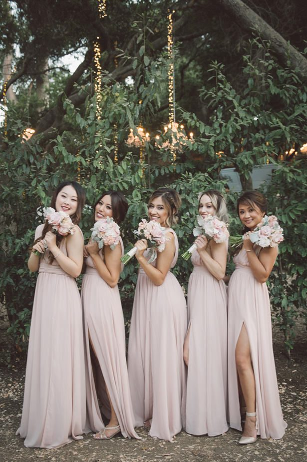 Blush Bridesmaid Bouquets - Yunis Chen Photography