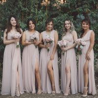 Blush Bridesmaids Dresses - Yunis Chen Photography