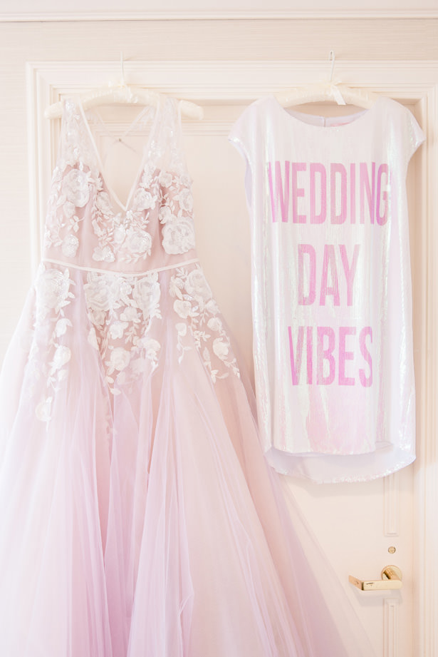 Blush ballgown wedding dress and sequin bridal robe - 1985 Luke Photography