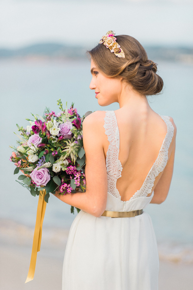 Boho Wedding Dress with Gold Accents - Heike Moellers Photography