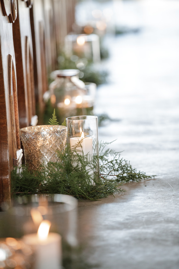 Gorgeous Winter Wedding Candles - Kathy Beaver Photography