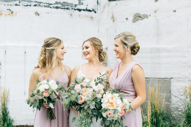 Long blush mismatched bridesmaid dresses- Justina Louise Photography