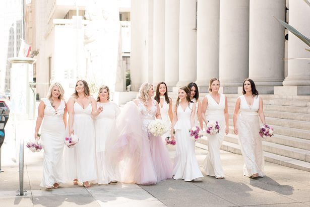 Long white mismatched bridesmaid dresses - 1985 Luke Photography
