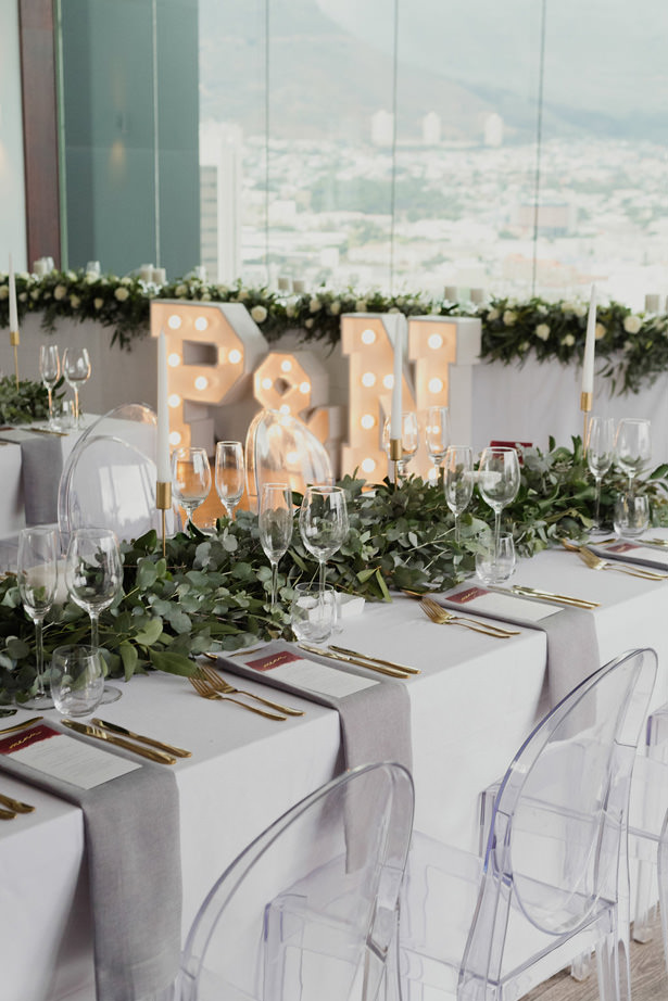 Modern Chic Wedding table decor and greenery details - Bianca Asher Photography