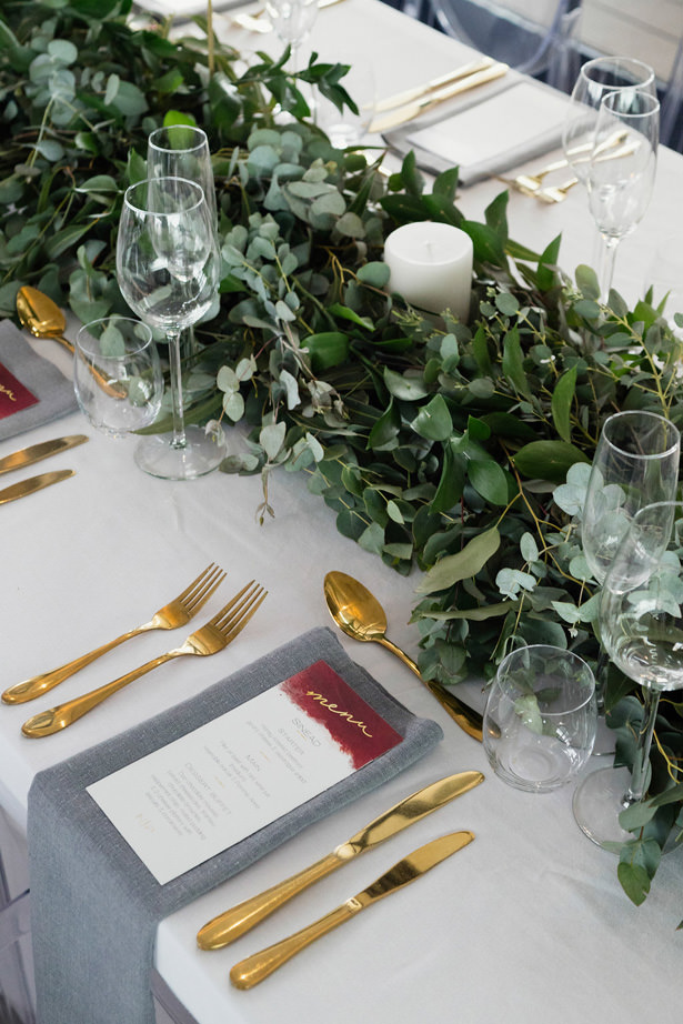 Modern Wedding table decorations and greenery Centerpiece - Bianca Asher Photography