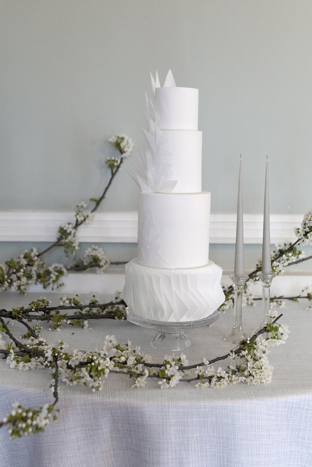 Modern White Wedding Cake - Sophie Lake Photography
