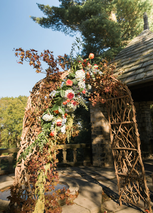 Outdoor rustic wedding ceremony arch - Imagine It Photography