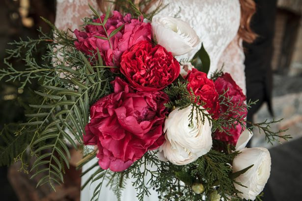 Pine Branches and Burgundy Hues for an Elegant Winter Wedding
