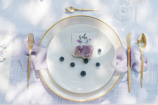 Purple and Gold Contemporary Wedding place setting - Heike Moellers Photography