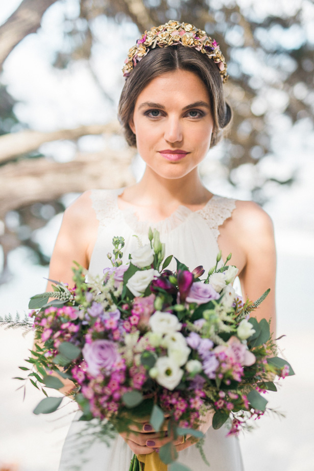 Purple and Gold Wedding Bouquet - Heike Moellers Photography