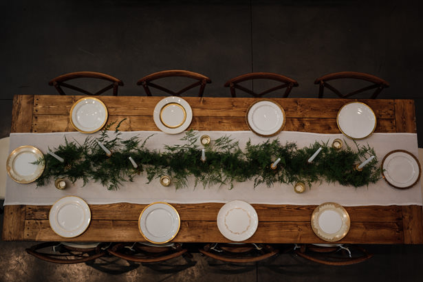 Rustic Winter Long Wedding Table - Kathy Beaver Photography